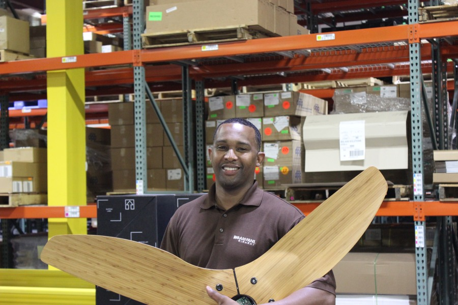 Ray Hawkins works for Big Ass Fans, which manufactures ceiling fans in Lexington, Ky.